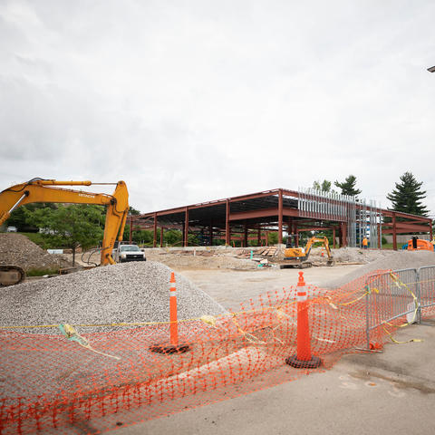 Construction at Turfland of the new Sanders-Brown facility on June 7, 2021. Photo by Pete Comparoni | UKphoto