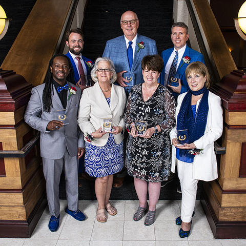 photo of UK Alumni Association's 2020 and 2021 Distinguished Service Award and Joseph T. Burch Young Alumni Award recipients