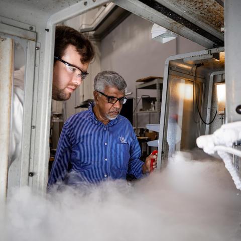 Photo of Professor I.S. Jawahir conducting an experiment.