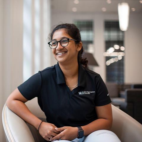 Sanjana Dhayalan seated