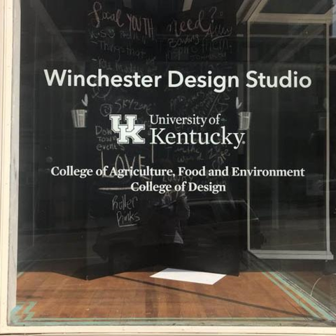 Front window of the Winchester Design Studio