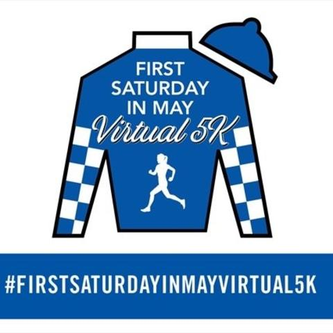 graphic of a jockey silks that says First Saturday in May Virtual 5K
