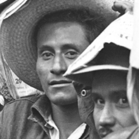 black and white photo of group of men from Braceros Photo Exhibit