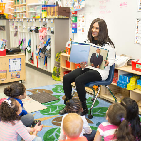 Photo of Miranda Fulce reading at Breckinridge Elementary.
