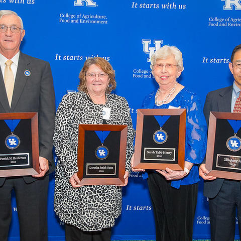 The University of Kentucky College of Agriculture, Food and Environment Hall of Distinguished Alumni's newest members are (from left) Patrick Henderson, the late Dorotha Smith Oatts, Sarah Tabb Henry and Zhiqiang An.