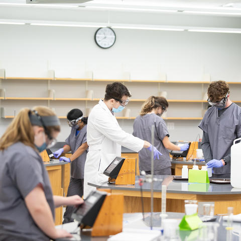 students working on projects in a chemistry lab