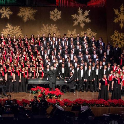 "photo of full stage performance with 2 soloist, UK Choirs and Lexington Singers Children's Choir at ""Collage"""