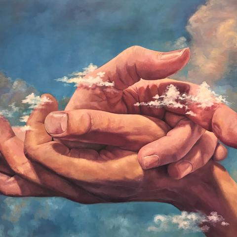 picture of artwork featuring hands clasping by Ember Kawarada