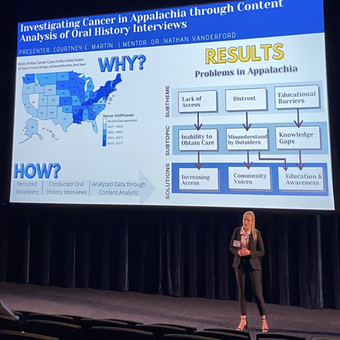 UK student Courtney Martin presents at the 5-Minute Fast Track Research Competition.