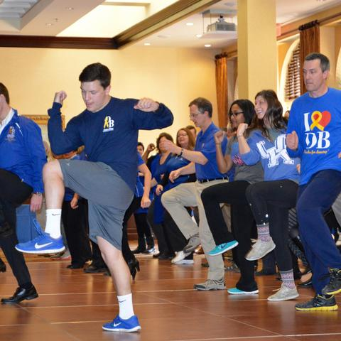 photo of last year's staff, faculty DanceBlue event