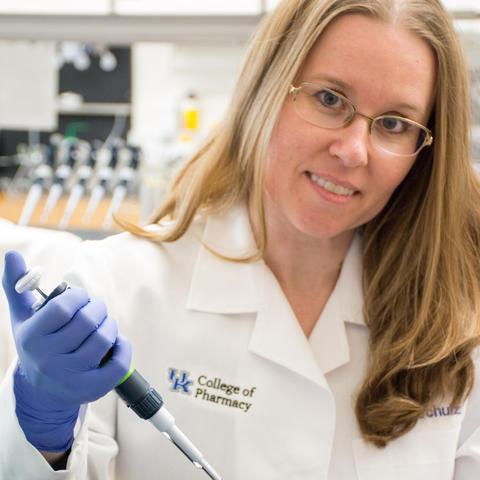 Photo of Sylvie Garneau-Tsodikova in a laboratory