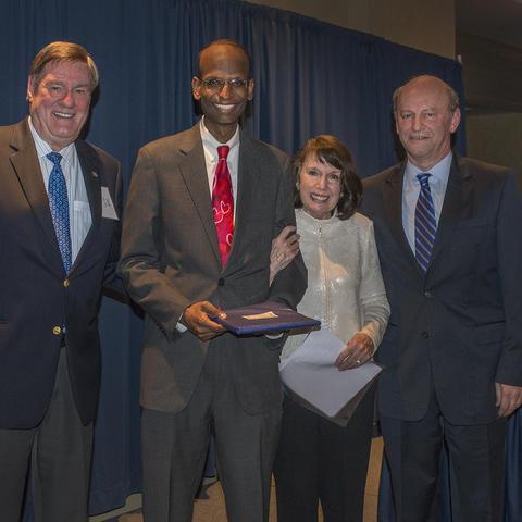 Photo of Saha Cardiovascular Research Center Director Alan Daugherty, featured speaker and Gill Award recipient Kiran Musunurum and UK benefactors Jack and Linda Gill