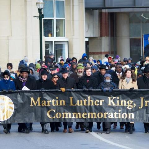 A recent Martin Luther King Jr. Commemoration march gets underway from Heritage Hall in the Lexington Convention Center.