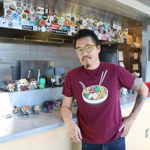 photo of Dan Wu in his first Atomic Ramen restaurant at The Barn