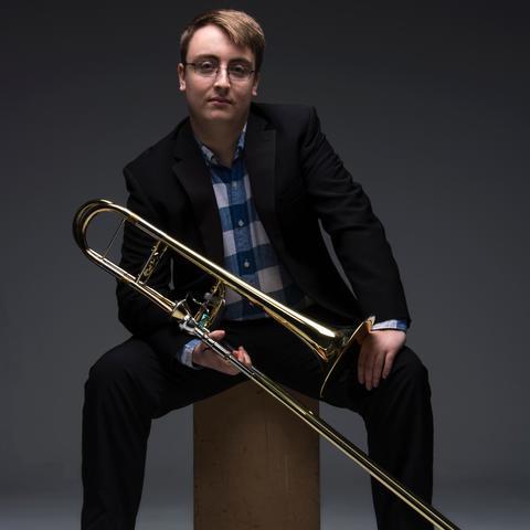 photo of David Seder with trombone