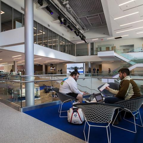 photo of students in student center
