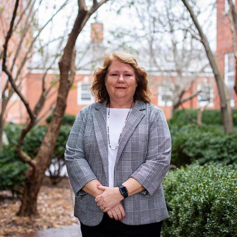 photo of Debra Ross in courtyard