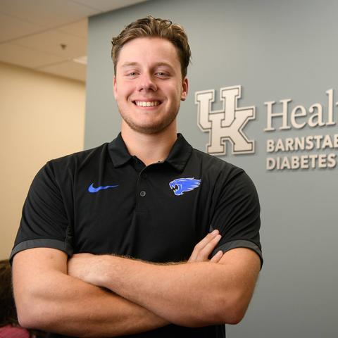 UK baseball player Dillon Marsh at the Barnstable Brown Diabetes Center.
