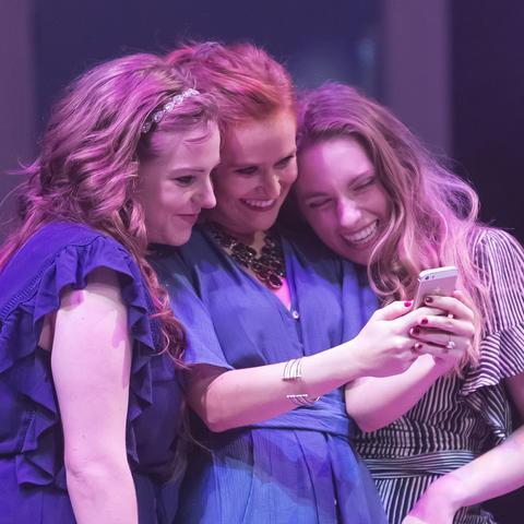 """photo of 3 actresses in UK Theatre's """"The Drunken City"""""""