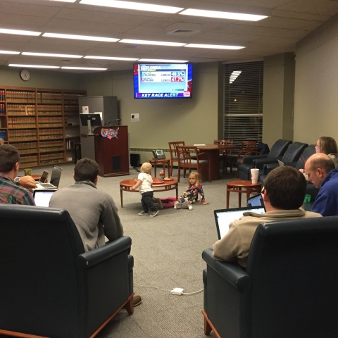 Photo of Election Law Society live-blogging on Nov. 8, 2016.