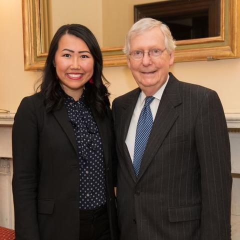 photo of Tiffany Ge and Mitch McConnell