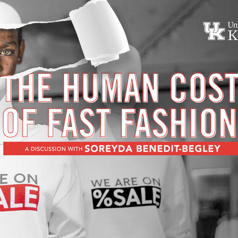 """Virtual flyer with wording """"The Human Cost of Fast Fashion"""" across the center in white and orange"""