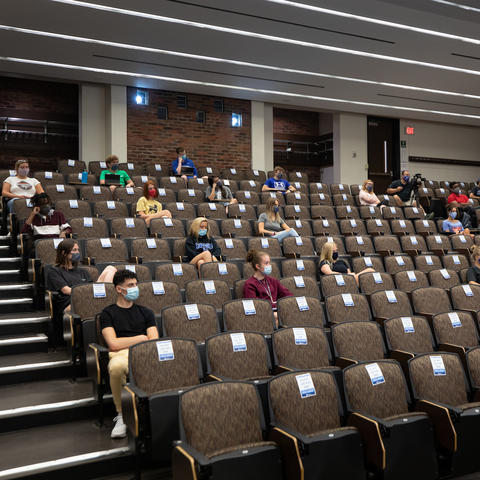 photo of students in a limited capacity classroom in White Hall