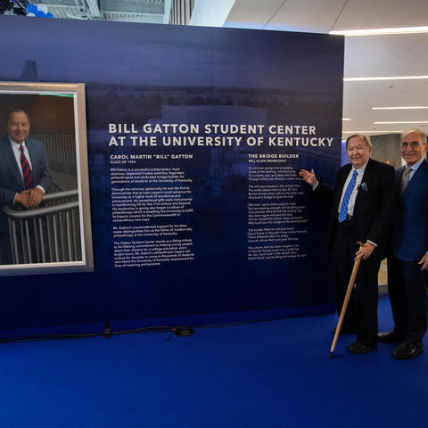 photo of Bill Gatton and Eli Capilouto at grand opening of Gatton Student Center