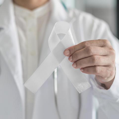 Lung cancer awareness ribbon