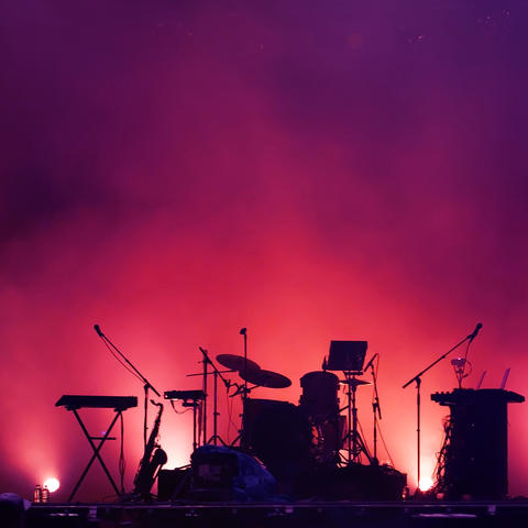 stock photo of instruments in red spotlights