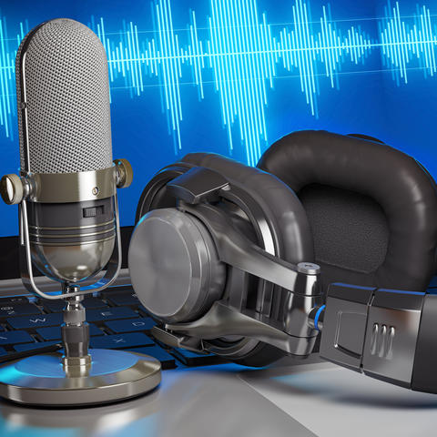 stock photo microphone, headphones and a screen with airwaves in blue