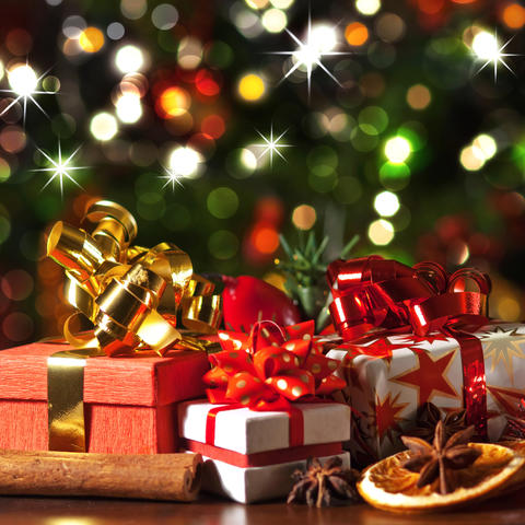 photo of presents under tree