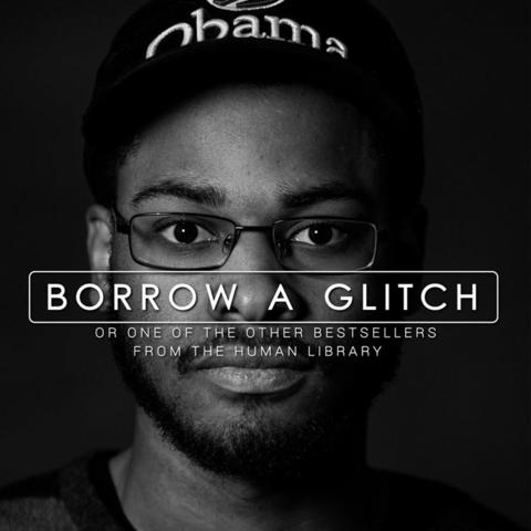 "headshot photo of student with words ""Borrow A Glitch"" over his face"