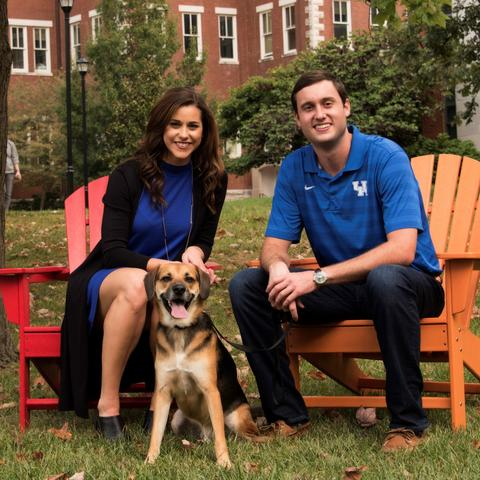 photo of Michael and Lauren Gorrell, UK alumni and donors, with their dog Ralph.
