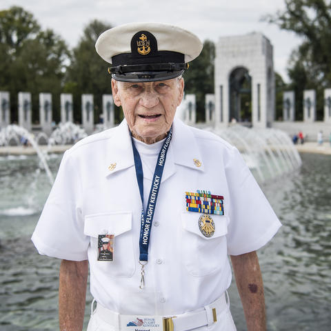 Photo of Howard Hitsman at the World War II Memorial