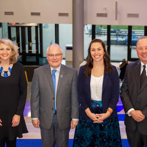 photo of Mobley Award winners Jill Smith, Mark Pearson, Katie Sanders, and Stuart E. Brown, II