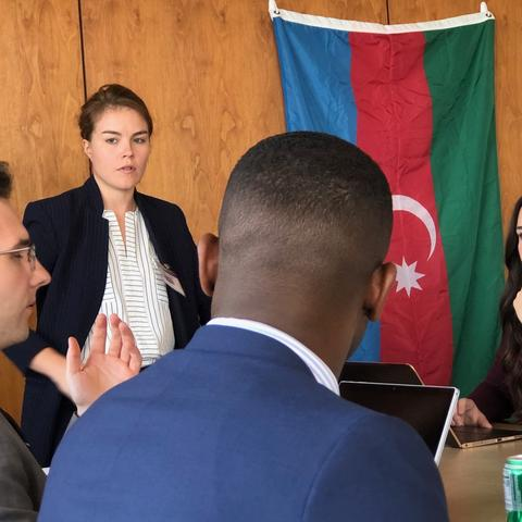"""UK Patterson School students representing """"Team Azerbaijan"""" during the 2019 exercise"""