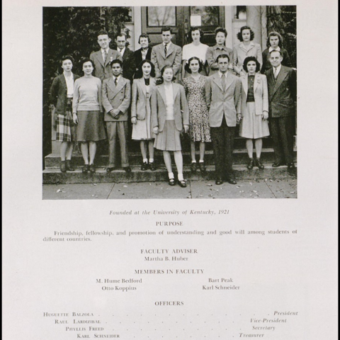 photo of Cosmopolitan Club page from 1945 Kentuckian