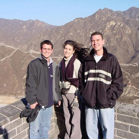 Jeff, Melanie, and Kevin Graham at the Great Wall of China.