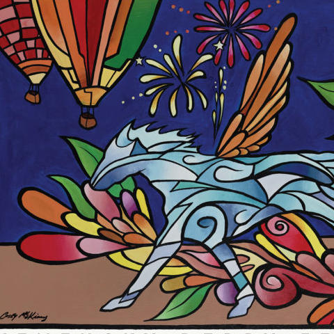 """photo of Kentucky Derby Festival poster """"Pegasus in Bloom"""" by Casey McKinney"""