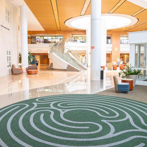 image of walking labyrinth in Chandler hospital atrium