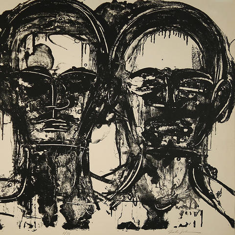 "photo of Lester Johnson's ""Three Heads, Frontal"""