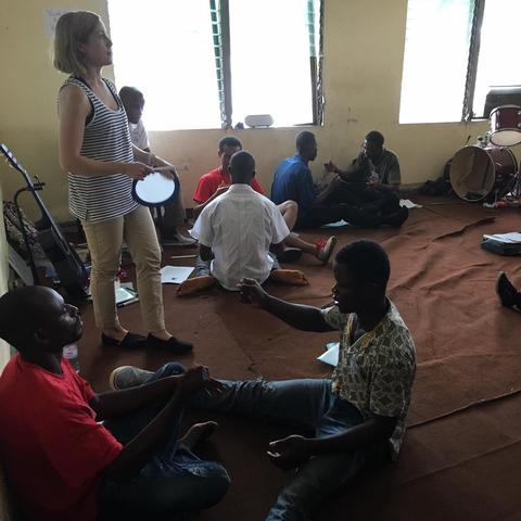 photo of Martina Vasil leading music education workshop in Liberia