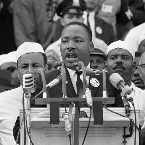 """Martin Luther King Jr. """"I Have a Dream"""" speech Aug. 28, 1963. AP/REX/Shutterstock.com"""