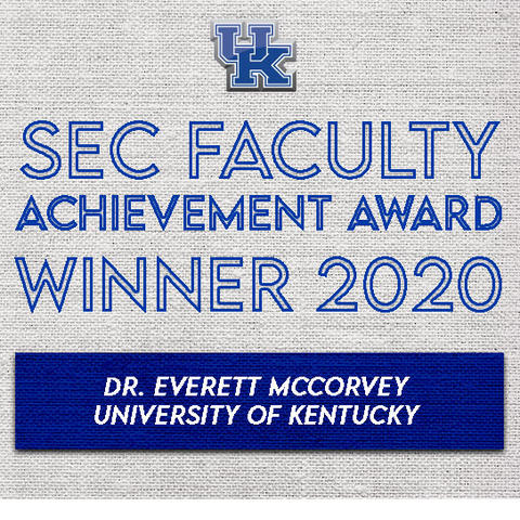 photo of SEC Faculty Achievement banner for Everett McCorvey