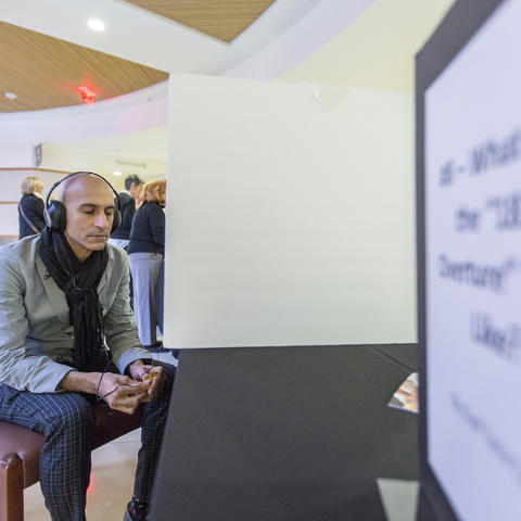 Photo of Jehangir Mehta at the 1812 Overture tasting station, Neurogastronomy Symposium 2016