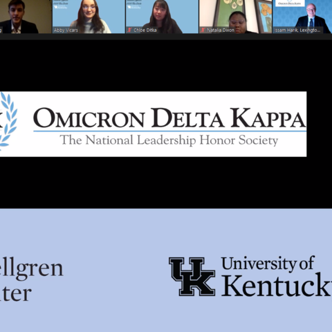 Omicron Delta Kappa virtual induction ceremony.