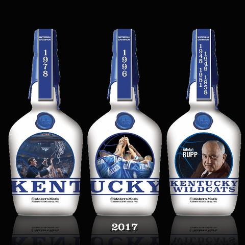 photo of series of Maker's Mark bottles featuring the NCAA basketball titles as of 2017