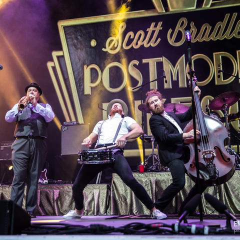 photo of 4 members of Postmodern Jukebox performing