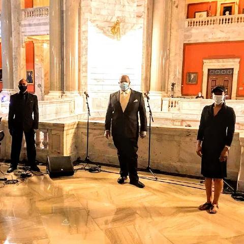 photo of masked Tedrin Blair Lindsay, Whit Whitaker, Everett McCorvey and Dione Johnson Napier in Capitol for Phyllis George Memorial